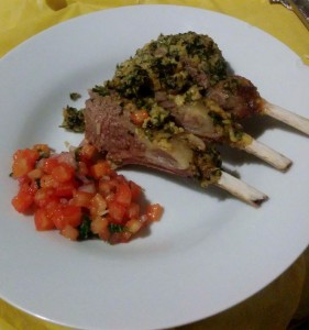 Rack of Lamb with Mustard and Breadcrumbs, with a Salsa side