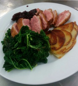 Duck Breasts with a Blackberry & Apple Sauce, with Pommes Anna and Kale sides